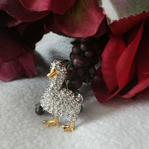 Aflac Duck Brooch Swarovski Crystal 24KGold Accent